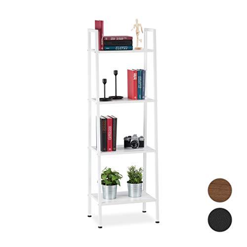 Relaxdays Staand rek, modern rek met 4 planken, decoratief rek voor planten & boeken, h x b x d: 136 x 44 x 31,5 cm, wit