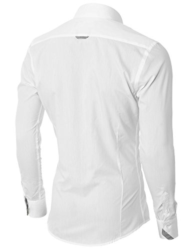 MODERNO Mens Button Down Shirts Casual Slim Fit Long Sleeve (VGD063LS) White US L