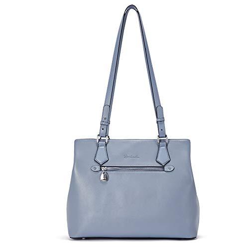 BOSTANTEN Damen Leder Schultertasche Designer Handtaschen Umhängetasche Lange Schulterriemen Blau