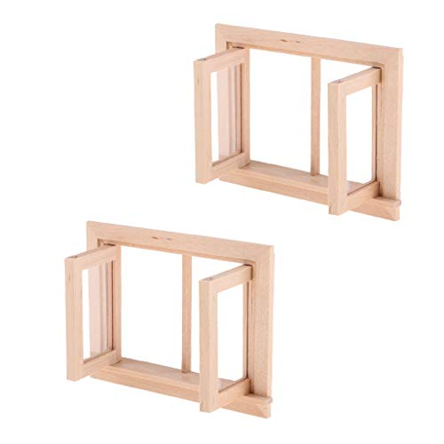 F Fityle 2 Piezas 1:12 Miniatura 2 Paneles Marco de Ventana Casa de Muñecas en Blanco Decoración de Fabricación de Bricolaje