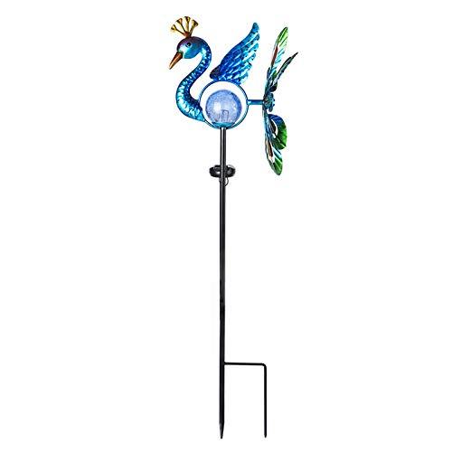 VCUTEKA Solar Wind Spinner Metal Garden Stake Solar Garden Light Outdoor Decorative Wind Sculpture for Yard Pathway Decor