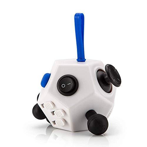 lovigo Amazing Cube - 12 Seiten Anti-Stress-Würfel Stresslöser Konzentration Kinder Erwachsene - Weiß mit türkisen Knöpfen
