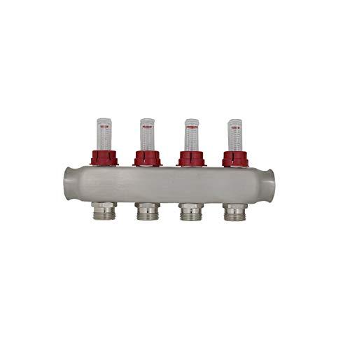Collettore riscaldamento a 2 3 4 5 6 7 8 9 10 11 12 circuiti con flussometro riscaldamento a pavimento termosifoni per tubo multistrato pex (4 circuiti)