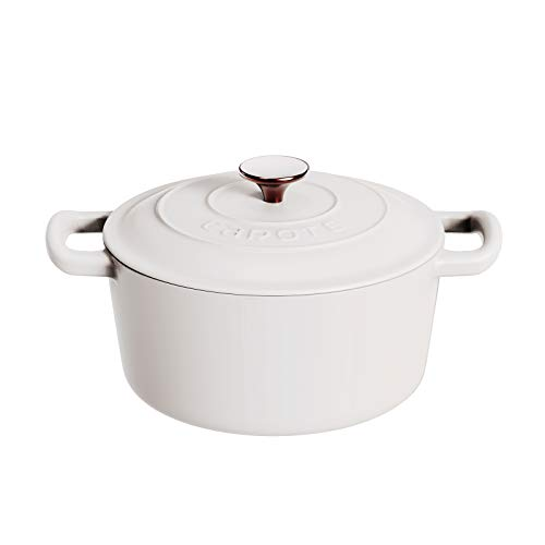 Carote Enameled Cast Iron Dutch Oven With Stainless Steel Knob and Loop Handles, 5.5 Quart, White