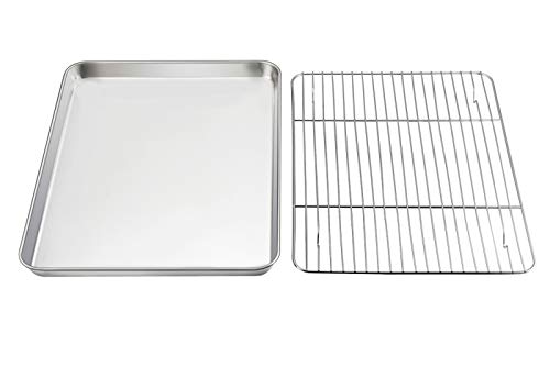 Baking Sheet with Rack Set, E-far Pure Stainless Steel Cookie Sheet Baking Tray Pan with Wire Rack, 12.5 x 10 x 1 inch, Non Toxic & Healthy, Anti Rust & Mirror Finish - Dishwasher Safe