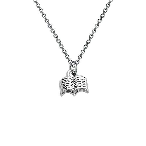 Book Lover Necklace Book Pendant Necklace Reading Jewelry Book Club Gift Reading Lover Gift Librarian Gift Bookworm Gift (silver)
