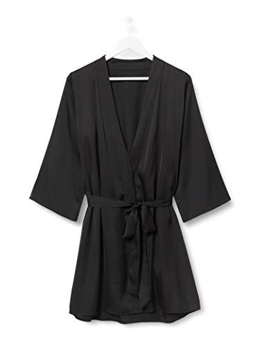 Iris & Lilly Damen Kimono-Morgenmantel aus Baumwolle, Schwarz (Black), L, Label: L