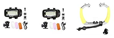 Movo Diving Rig Bundle with 2 Waterproof LED Lights - Compatible with GoPro HERO3, HERO4, HERO5, HERO6, HERO7, HERO8, Max, Session, and Waterproof Action Cam - Scuba Accessories for Underwater Camera