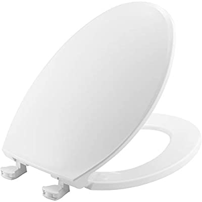 BEMIS 1800EC 000 Plastic Toilet Seat with Easy Clean & Change Hinges, ELONGATED, White