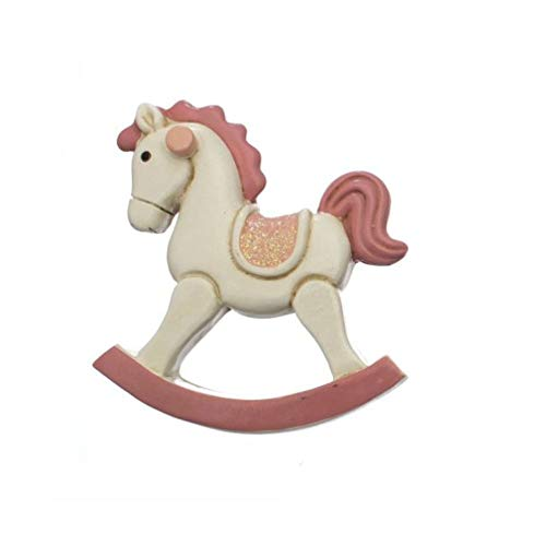 24 PZ Cavallo a dondolo ROSA in resina CALAMITA MAGNETE BOMBONIERA