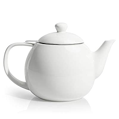 Sweese 221.101 Teapot, Porcelain Tea Pot with Stainless Steel Infuser, Blooming & Loose Leaf Teapot - 27 ounce, White