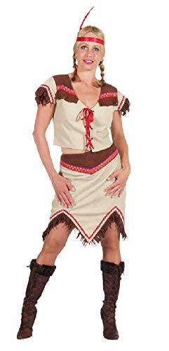 narrenkiste M210106-XL-A - Vestido de indio para mujer (talla XL), color beige y marrn