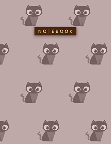 Notebook Rosy Brown Color Big Lovely Cat Patterns Cover Lined Journal: Work List, Hour, 8.5 x 11 inch, Planning, Daily, A4, 21.5