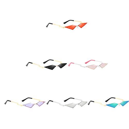 harayaa 6X Mujeres Punk Cat Eye Gafas de Sol Montura Sin Montura Gafas de Sol Sombras Rave Eyewear