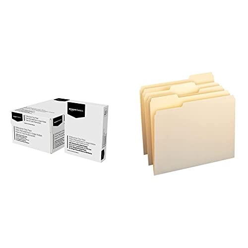 Amazon Basics Multipurpose Copy Printer Paper - White, 8.5 x 11 Inches, 8 Ream Case (4,000 Sheets) & 1/3-Cut Tab, Assorted Positions File Folders, Letter Size, Manila - Pack of 100