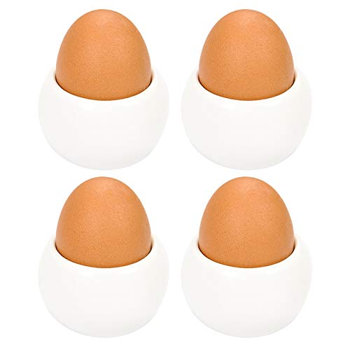 QAX Juego de 4 hueveras blancas de porcelana para cocina, restaurante y hogar, extra suave, brillante y ligero, forma de taza, juego de 4