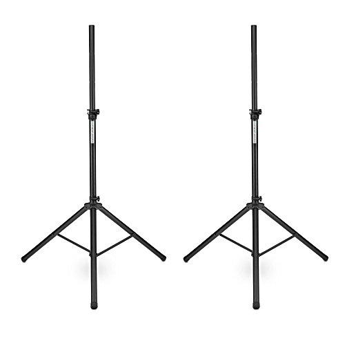 2 x Pronomic SPS-1S Boxenstativ Stahl (Boxenstativ aus Stahl, stabile, extra breite Dreibein-Konstruktion, 120-193 cm, auch als Dartstativ oder Fotostativ verwendbar) schwarz