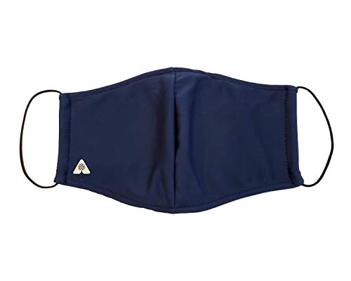 Cool Easy Breathe Cloth Face Mask Washable, with Nose Wire and 2 Layer Filter Pocket, 3 Pack (Navy Blue)
