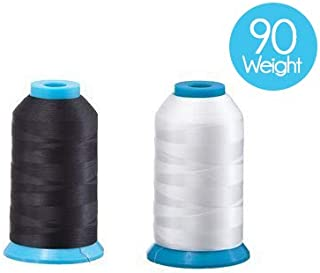 Set of 2 Huge Bobbin Thread for Sewing and Embroidery Machine 1 Black and 1 White 5500 Yards Each - Polyester - Embroidex - 90 Weight