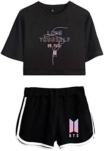 Silver Basic Conjunto de Pijama de Verano para Niñas Camiseta y Pantalones Cortos...