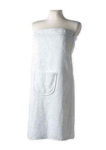 Carenesse sauna-kilt dames 80 x 140 cm, 100% katoen, klittenbandsluiting & elastiek, tas, wit, saunasarong, saunakilt badstof, saunarok