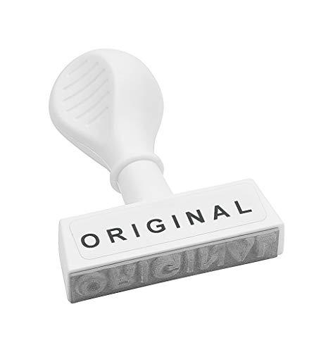 WEDO 19329 Lagertext Stempel ORIGINAL, Kunststoff, Abdruckbreite ca. 45 mm, Schrifthöhe 5,5 mm, ergonomischer Griff, weiß
