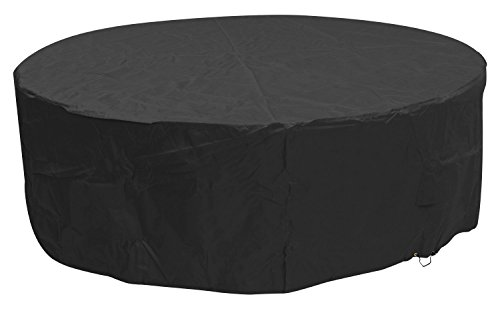 Woodside Black 6-8 Seater Round Waterproof Outdoor Garden Patio Furniture Set Cover Heavy Duty 600D Material 0.8m x 2.52m / 2.6ft x 8.3ft, 5 YEAR GUARANTEE