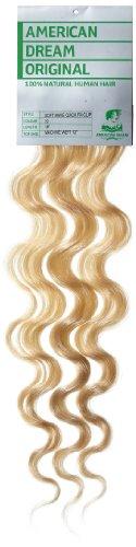 American Dream - A4/QFC12/18/22 - 100 % Cheveux Naturels - Douce Ondultation - Pièce Unique Extensions à Clipper - Couleur 22 - Blond Plage - 46 cm