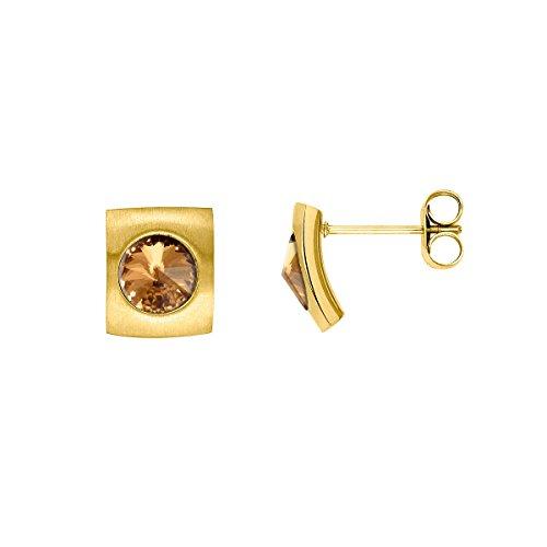 Heideman Ohrringe Damen Quadro aus Edelstahl gold farbend matt Ohrstecker für Frauen mit Swarovski Stein Kristall bernstein braun im Fantasie Edelsteinschliff 6mm