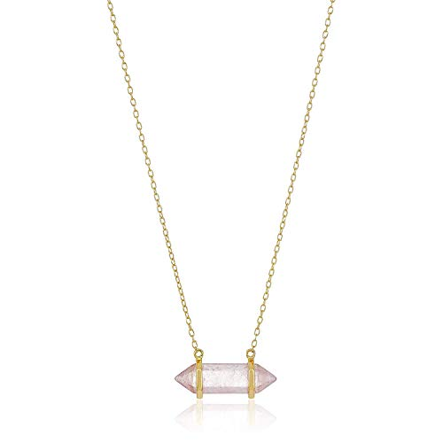 18K Yellow Gold-Plated .925 Sterling Silver Rose Quartz Gemstone Crystal Horizontal Chakra...