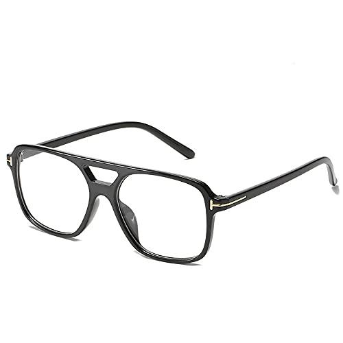 Gafas de sol de moda de doble haz de moda para hombres y mujeres, Marco negro película transparente,