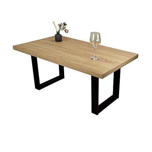 POKAR Mesa de Café/Mesa de Centro Industrial/Mesa Auxiliar/Mueble Salon Comedor con Patas de Mesa de Acero Negro y Tablero de 3,6 cm, Aspecto Roble Sonoma, 100 x 60 x 47 cm