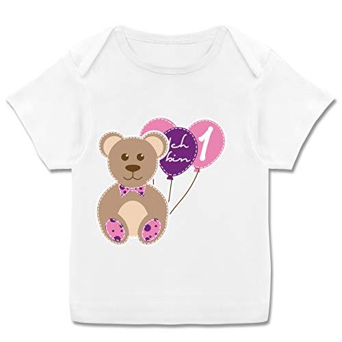 Geburtstag Baby - Ich Bin 1 Mädchen Bär Luftballons Erster - 68-74 - Weiß - Baby 1 Geburtstag Shirt - E110B - Kurzarm Baby-Shirt für Jungen und Mädchen