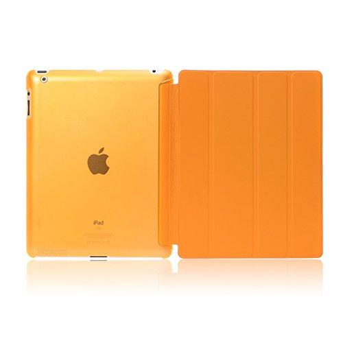 Compatible con iPad Air 2 / iPad 6 / iPad Pro 9.7 Funda, Delgado y Ligero Protector con Magnética Función de Cargar/Par y Auto Sueño/Estela (Naranja)