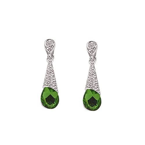 QWKLNRA Mujer Pendientes Elegante Verde Rhinestone Cristal Largo Clip En Pendientes De Color Astilla No Perforados para Las Mujeres Fiesta Boda Lujo Moda Sin Agujero Pendientes