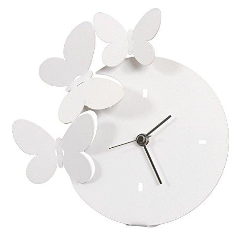 orologio da tavolo arti e mestieri ARTI E MESTIERI - Orologio Farfalle da Tavolo Bianco