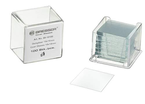 Bresser Mikroskop 100x Deckgläser 22x22 mm zur Abdeckung des Mikroskoppräparates auf dem Objektträger