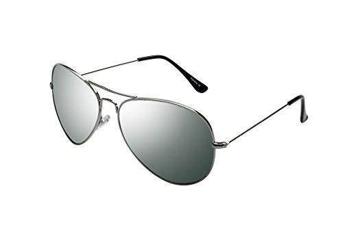Alpland - Sonnenbrille - FLIEGERBRILLER F VOLL VERSPIEGELT XXL Gläser! PILOTENBRILLE Gläser Silber