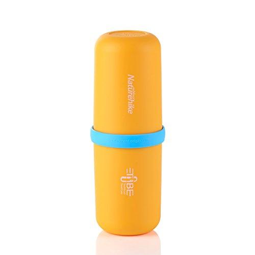 iBasingo im Freien 3 in 1 Multifunktionale Kapsel geformte Waschbecher tragbar Mundwasser Flasche Reise Zahnbürste Aufbewahrungsbox für Camping Business(Orange)