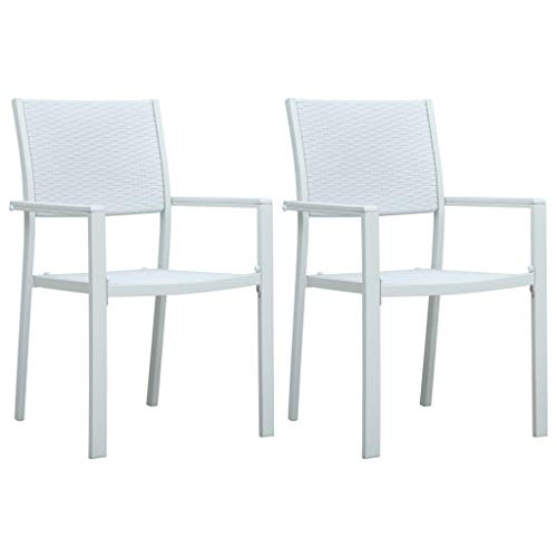Festnight Tuinstoel Metal garden dining chair industrial vintage kitchen chair home restaurant wedding cafe terrace outdoor and indoor 2 st rattan-look kunststof wit