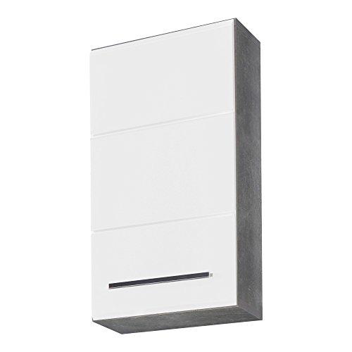 trendteam smart living Badezimmer Hängeschrank Wandschrank Nano, 32 x 61 x 21 cm in Korpus Beton Stone Melamin, Front Weiß Hochglanz Tiefzieh viel Stauraum