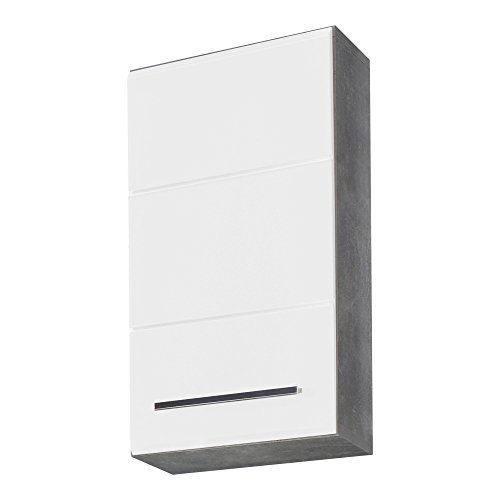 trendteam Badezimmer Hängeschrank Wandschrank Nano, 32 x 61 x 21 cm in Korpus Beton Stone Melamin, Front Weiß Hochglanz Tiefzieh viel Stauraum