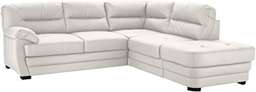 Mivano Ecksofa Royale / Zeitloses Sofa in L-Form mit Ottomane und hohen Rückenlehnen / 246 x 90 x 230 / Lederoptik, weiß
