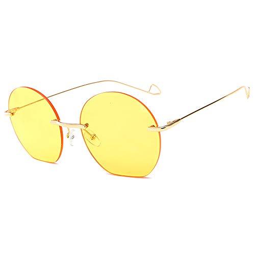 FGKING Gafas de Sol Redondas Estilo, 100% protección UV PC Lente Metal Marco Gafas de Sol para Mujeres,Yellow