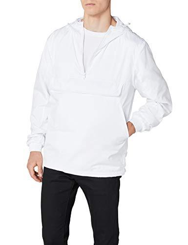 Urban Classics Herren Windbreaker Basic Pull-Over Jacket, leichte Streetwear Schlupfjacke, Überziehjacke für Frühjahr und Herbst - Farbe white, Größe L
