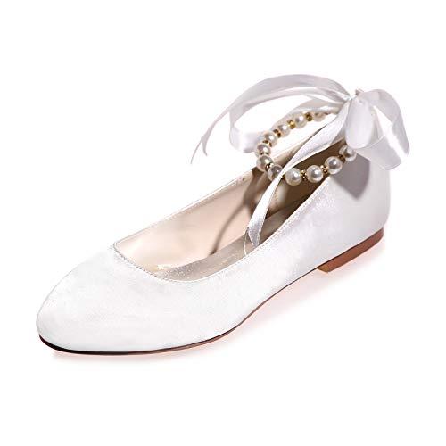 CHARMSTEP Scarpe da Sposa Piatte da Donna Ballerine Perle Cinturino alla Caviglia Raso Punta Chiusa Scarpe da Sposa Ballo 9872-15A,Bianca,40 EU