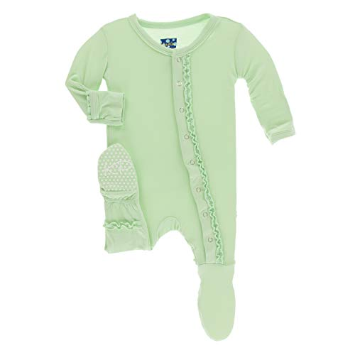 KicKee Pants Little Girls Solid Muffin Ruffle Footie with Snaps - Pistachio, 12-18 Months