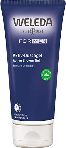 WELEDA Men Aktiv Duschgel, Naturkosmetik erfrischende, pflegende Reinigung Körper, Gesicht und Haut für Männer, Pflegedusche mit maskulinem Duft (1 x 200 ml)