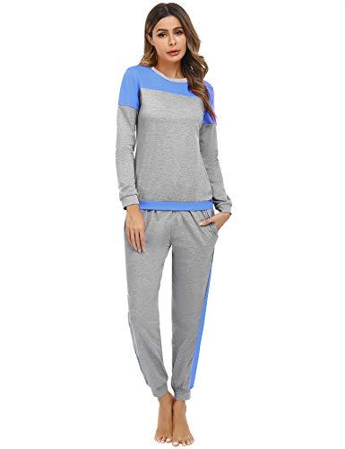Sykooria Schlafanzug Damen Lang aus Baumwolle Langarm V-Ausschnitt Kontrastkante Design Zweiteilige Pyjama Damen Set Oberteile & Pyjamahosen