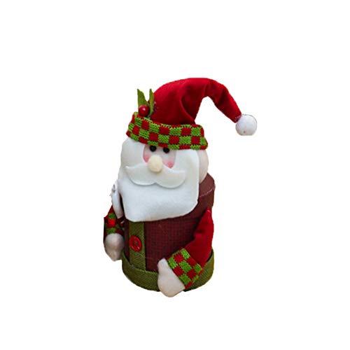 lujiaoshout Décorations de Noël de Lin pour Enfants Grande boîte-Cadeau du Père Noël Bonhomme de Neige Cerfs Bonbonnière Eve Cadeau de Noël Accueil Décorations (Père Noël Style)